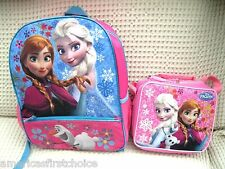 """Frozen Anna, Elsa, and Flying Olfa 16"""" Backpack + Sisters w/Olaf Lunchbox-New! H"""