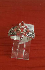 92.5 STERLING SILVER RED CLUSTERED CUBIC ZIRCON MARCASITE RING SIZE 6