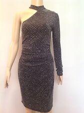 LIPSY GLITTER ONE SHOULDER BODYCON DRESS. Size 8