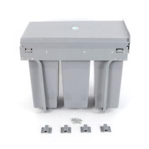 Mülltrennsystem Auszug, 3 Mülleimer, Einbau, für Schrank, Küche, 3 x 10 L grau