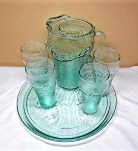 Vintage COCA-COLA Coke Green Pebble 6 PIECE SET TRAY PITCHER 4 GLASSES Excellent