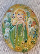 Summer Beautiful Russian Girl Hand Painted Russian Fedoskino LACQUER BOX
