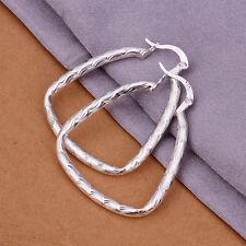 925Sterling Silver Fashion Jewelry Solid Fishskin Hoop Women Earrings EY342