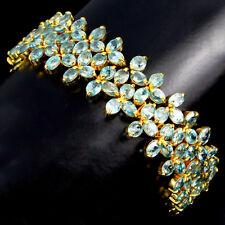 925 Silber Gelbgold beschichtet Armband, Echter Sea Foam Blau Kambodscha Zirkon