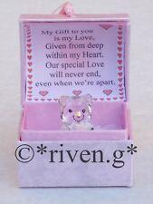 VALENTINE GIFT SET Teddy Bear@WITH LOVE PINK HEART Box LOVE Verse@Glass ROSE BUD