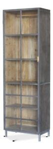 """75"""" T Bookcase Solid Acacia Wood Steel Brass Trim Hand Crafted Brass Handles"""
