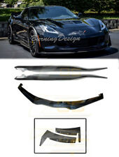 For 14-Up Corvette C7 CARBON FLASH painted Side Skirt & Front Lip & Side Winglet