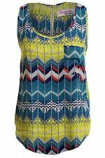 Ladies Sleeveless Aztec Floral Butterfly Bird Print Women's Chiffon Vest Top