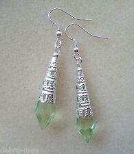 Light Green Faceted Teardrop Lacy Filigree Drop Earrings in Gift Bag