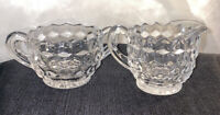 Vintage Depression Glass Clear Sugar Bowl and Pitcher Creamer - Cubist Pattern