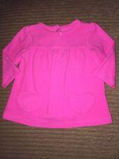 Carters Girls Pink Fleece Sweater With Heart Pockets 12 Months