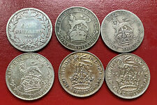LOT Argent Silver 6 One Shilling 1885 1920  1921 1923 1928 1944 Great Britain