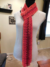 Red handmade crochet scarf, 4 x 80 inches