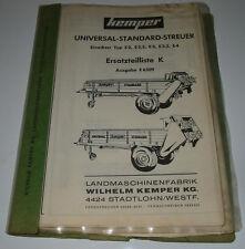 Ersatzteilliste Kemper Universal Standard Streuer E6509 Einachser E2 E3 3,5 E4!