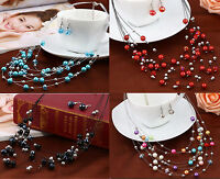 BLUE, RED, MULTI-COLOURED OR BLACK MULTI-STRAND FLOATING  GLASS PEARL NECKLACE