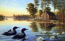 """Mary Pettis """" Precious Moments"""" Loon Cabin Lake Print-Signed and Numbered"""