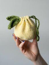 Handmade Pouch, Lemon Bag, Crochet Lemon, Treat Bag