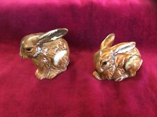 Vtg Collectible Goebel Ceramic Squatting Bunny Rabbits Figurine Shades of Brown