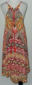 Flying Tomato Women's Hippie Midi Dress Sz S Aztec Print Spaghetti Straps  #