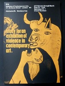 PABLO PICASSO Study for an exhibition of violence 1964 ICA ART EXHIBITION POSTER