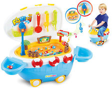 CHILDRENS WATER PLAY TABLE FISHING GAME LIGHTS SOUNDS & TUG BOAT RIDE ON TOY 847