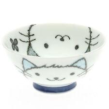 "1x Japanese 4""Blue Cat Face  Rice Bowl #130-572"