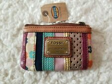 Fossil Emory Leather Zip Coin Wallet Purse Multicolor Gold-tone Hardware NWT