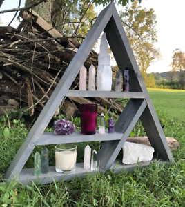 Handmade Triangle Display Shelf Wall Decor- Weathered Gray or Black