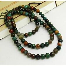 "Tibetan 108 6mm Indian Jade Buddhism Meditation Prayer Beads Mala Necklace -25"""