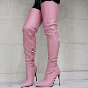 Women's Pointed Toe Stiletto High Heels Cosplay Leather Over The Knee High Boots