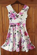 BHS Sophie Grey Black and White Dress with Floral Pattern Size 8 255