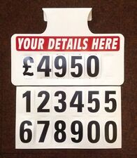10 X Personalised Car For Sale Signs, Visor Price Boards, Car, Auto, Van Signage