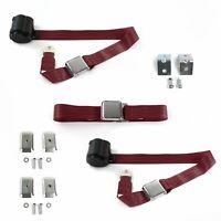 VW Type 1 1958 1967 Standard 2 Pt Tan Lap Bench Seat Belt Kit 3 Belts