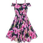 Girls Dress Chiffon Pink Sunflower Cold shoulder Maxi Dress Size 5-12