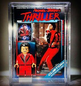 Michael Jackson custom Thriller Mini Figure w/ Music Display Case & stand 445