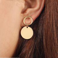 Gold Geometric Round Circlel Dangle Drop Ear Stud Earrings Jewelry for Women