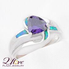 60% OFF 18K White Blue AUSTRALIAN OPAL Amethyst 925 Sterling Silver Ring Sz 7 8