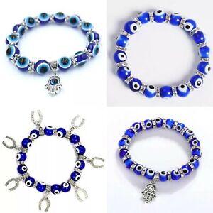 Turkish Greek BLUE Evil Eye Bead Protection Good Luck Bracelet Jewellery Glass