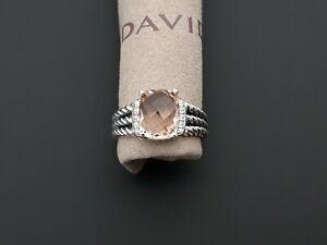 David Yurman Petite Wheaton Ring with Morganite and Diamond Size 6