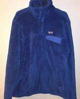 Patagonia Snap T Fleece Blue Deep Pile Pullover Jacket Womens Size Large L