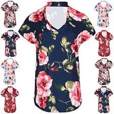 Ladies Womens Choker Neck Lagenlook Rose Floral Batwing Curved Hem Baggy Tee Top