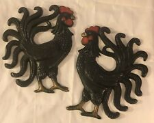 Vtg Kitchen Rooster Pair cast iron metal wall hanging country decor