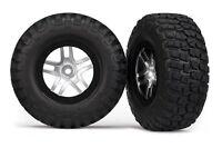Split-Spoke Black/Satin Chrome Wheels w/ Mud-Terrain T/A KM2 Tires Nitro Slash