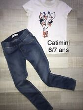 Catimini 6/7 Ans Fille : T Shirt Girafe + Jean Tregging TBE