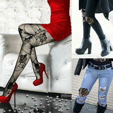 Women's Black Gothic Punk Large Floral Rose Lace Fishnet Stockings Pantyhose OS