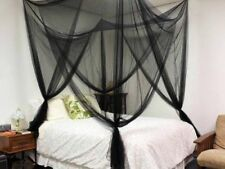 Black Post Bed Canopy Mosquito Net Full Queen King Size Netting Bedding 4 Corner