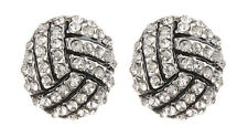 CLIP ON EARRINGS - silver knot with clear crystals & black enamel - Dahlia