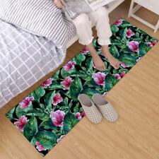 Tropical Leaf Hibiscus Flower Home Floor Mat Bedroom Area Rugs Decor Soft Carpet
