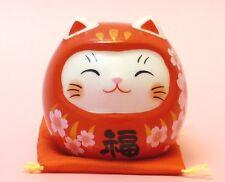 Japan Maneki Neko Beckoning Cat Red Sakura Daruma type Fortune Lucky charm N13