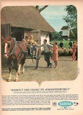 1967 D 'Origine Publicité' Vintage Sabena Airline Belgique Johannesburg